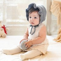 Wholesale Grey Newborn Hat Knitted - Newborn handmade crochet flowers hats baby wool hat kids winter caps fashion girls knit hair accessories toddler bonnet photography hats