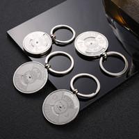 Wholesale Lucky Star Pvc Figures - Metal keychain creative calendar Keychain lucky compass car key chain business gifts custom