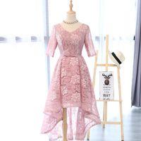 Wholesale Embroidered Pink Ivory Lace - In Stock Real Photo Pink Lace Half Sleeve V-Neck Robe De Soiree Courte Prom Dresses 2017 Vestito Da Sera Avondjurken 0523A