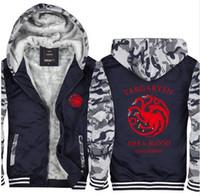 Wholesale House Hoodies - Game of Thrones House Stark Men Sweatshirt Winter Is Coming Hoodie camouflage winter warm fleece thicken men jacket Zipper coat