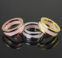 Wholesale Pink Wedding Ring Sets - Black White  Pink Narrow Ceramic Rings,Yellow Gold  Rose Gold Platinum Plated Stainless Steel Women Men Fashion Jewelry