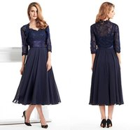 Wholesale Winter Evening Dresses Knee Length - Custom Made Tea Length Mother Of The Bride Groom Dress With Jacket Long Sleeves Navy Blue Lace Plus Size Women Evening Formal Gown