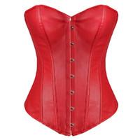 ingrosso indietro indossare il corsetto in pelle-Spedizione gratuita! Corsetto senza spalline in finta pelle. Body shaper rosso. Lingerie sexy. Lingerie. Lingerie. Schienale alto 8216