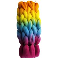 24 polegadas 5packs / lot Synthetic Yaki Jumbo Braiding Hair Extensions Cabelo Bulk para Crochet Box Twist Braids Hairstyle Orange Pink Ombre Color