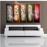 Wholesale musical paintings art for sale - 5 Pieces Hand Painted Figures Oil Painting on Canvas Modern Abstract Musical Performer Painting Home Wall Art Decorations