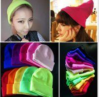 Wholesale Wholesale Blank Women Beanies - Adult Wool Winter Snapbacks Beanies for Women Candy Color Skull Winter Beanies Hats Hip Hop Warm Beanie Knit Ski Cap Hip-Hop Blank Color