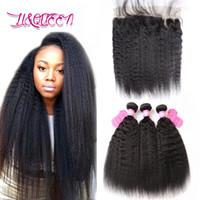 Wholesale Cheap Yaki Hair Weave - Malaysian Virgin Hair Kinky Straight Human Hair Weave With Frontal Closure Double Weft Malaysian Yaki Hair 4 Pcs Lot Cheap Weave