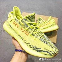 Wholesale Fluorescent Shoe Laces - 2017 free shipping Boost 350 V2 Fluorescent green Yebra B37572 Kanye West Running Shoes for Sply 350 BELUGA Blue Tint Sneakers