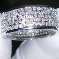 Wholesale 14k Diamond Wedding Band - Wholesale - 250Pcs jewelry Diamonique simulated diamond white full topaz 10KT White Gold Filled women Wedding band Ring gift Sz 5-11