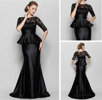 Wholesale Elegant Mum - 2016 Elegant Mum Half Long Lace Sleeve Mother Formal Wear Mermaid Jewel Neckline Long Party Dresses For Women Plus Size Mother's Dresses