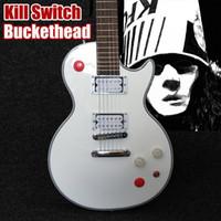 guitarra 24 al por mayor-Botón Arcade personalizado Killswitch Buckethead Signature Alpine Guitarra eléctrica blanca Ebony Diapasón Sin incrustaciones 24 Trastes Jumbo Los más vendidos