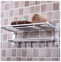 Wholesale Bathroom Hangers Towels - Wholesale-Foldable Alumimum Towel Bar Set Rack Tower Holder Hanger Bathroom Hotel Shelf