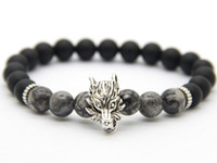 Wholesale Design Best Selling - 2016 New Design Mens Jewelry Wholesale Best-selling 8mm Matte Agate Stone Wolf Beaded Bracelet, Courage Bracelet