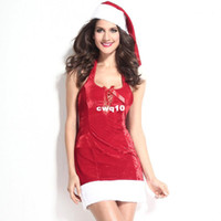 Wholesale Sexy Santa Suits - Christmas Costume New arrival red Adult Santa suit Women Christmas wear with hat hot sexy Christmas gift for women