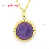 The Sun Natural Stone Pendants Colar Corrente Jóias Novo Pendulum 18K Gold Plated Charms Amuleto Europeu Moda Mulheres Jóias Mens