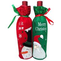 bolsas de regalo de vino de tela al por mayor-Botella de vino rojo cubierta de tela no tejida bordado Santa regalo bolsa Champagne Set Navidad decoración