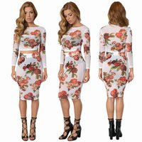 Wholesale Womens Velour Sets - 2016 Womens Fashion Clubwear Bandage Dress Sexy Slim Mesh Printed Dress Sexy Package Hip Bodysuit Night Clubwear 2 Piceces Set Dresses