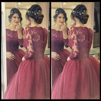 Wholesale Grace Pictures - Grace Burgundy Prom Dresses Puffy Ball Gowns Of The Lace Long Sleeve Dream Princess Evening Party Formal Gowns With Appliques