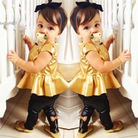 Wholesale Top Baby Girl Clothes - New Cool Baby Girl Suit for aged 2Y~13Y Gold Tops Leggings Pants Sexy Clothing Sets Casual Short Sleeve 2 Pieces Dance Party Clothes