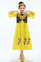 Wholesale Children Dressed Traditional Clothing - 2016 Hot Selling Xinjiang Traditional Costumes Children Dancing Performance Clothing Yellow Muslim Girl Dress MIN01