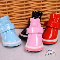Wholesale Leather Dog Boots - Winter dog boots leather dog snow boots 4 colors dog paw boots dog rain shoes waterproof dog booties anti slip boots for dogs