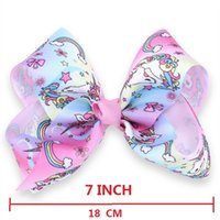 Wholesale Beautiful Unicorn - 12 Pcs 7 Inch Gradient Colorful Unicorn Ribbon Hair Clip Jojo Hair Bow With Clip Barrettes Hairgrips Beautiful HuiLin AW92