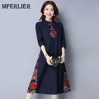 Wholesale Three Quarter Length Dresses - Autumn Winter Vintage Dress Stand Collar Plate Buckle Three Quarter Sleeve Floral Print Patchwork Vestidos Femininos
