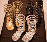 Wholesale Sliver High Heels - 15%off New Casual Children Gladiator Sandals Kids Girl Summer Shoe High Led Boots Sandals 3Colors Sliver Gold Black Size 26-35 Pick Sizes