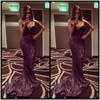 Wholesale Teen Strapless Dresses - Sexy Black Prom Dresses Mermaid Sequins Party Dress 2017 Bling Bling Sweetheart Prom Gown For Teens