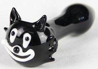"""Wholesale Usa Pipes - 2pcs lot Cat glass pipe 4.5"""" black smoking pipe glass pipe free shipping to USA"""