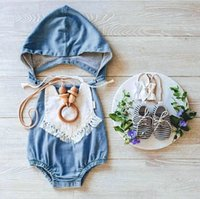 Wholesale Kids Leopard Cap - Wash blue baby rompers with cap mock denim newborn babies one-piece clothes toddler fashion jumpersuits kids infant cotton romper