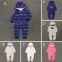 Wholesale Animal Fleece Rompers - 2016 New Baby cute cotton polar fleece Hooded Romper Infants cartoon soft embroidery hoodie rompers 3colors