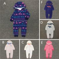 Wholesale Hooded Fleece Romper - 2016 New Baby cute cotton polar fleece Hooded Romper Infants cartoon soft embroidery hoodie rompers 3colors