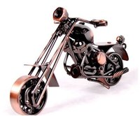 Wholesale Iron Artwork - 2016 hot sale New Home Office Decoration Iron Motorbike Handmade Metal Craft Motorcycle Model Artwork Christmas Gifts