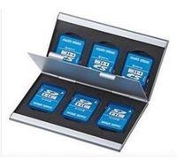 память на карте памяти оптовых-Мода алюминиевый 6x SD SDHC MMC карты памяти коробка для хранения чехол держатель для Canon Nikon Sony
