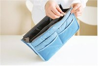 Wholesale Handbag Pouch Insert - New arrival Women Organiser Organizer Bag Purse Travel Insert Handbag Pouch Large Liner Tidy make up bag storage bag free shipping