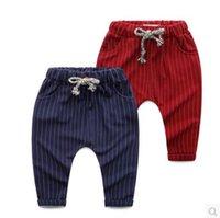 Wholesale Haren Jeans Boy - Children's Haren jeans autumn wear 2016 new children's wear Boys Striped casual pants baby elastic waist single layer trousers