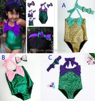 Wholesale Fish Bathing Suits - 3 Color Girls Fish scales Swimwear baby kids Mermaid Swimsuit with headband Costume Mermaid tail Bathing Swimwear Bowknot Bikini Suit