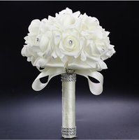 Wholesale Lowest Price Silk Flowers - Low Price Women Popular Fashion Wedding Accessories Sexy Bridal Holding Flowers White Foam Simulation Flowers Wedding Supplies