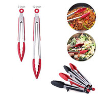Wholesale bbq tool sets - BBQ Food Clip 9 12 inch Heat Resistant Silicone Stainless Steel Cooking Clip Cake Bread Catering Kitchen Baking Tools 2pcs set OOA3004