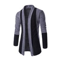 nuevos hombres de estilos de abrigo largo al por mayor-Suéteres casuales de la moda de los hombres Suéteres de la marca del nuevo estilo Cardigan Slim Fit Rebeca de la manga larga ocasional Coat Remiendo masculino Abrigos largos de los suéteres