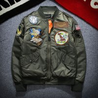 Wholesale red military coat - 2017 New NASA Bomber Jacket Men Ma-1 Flight Jacket Pilot Air Force Male Ma1 Army Green Military motorcycle Jackets Coats S-3XL