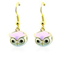 Wholesale Owl Earrings Enamel - Brand New Fashion Charms Earrings Stainless Steel Hooks Dangle 4 Style Enamel Owl Pendants For Women Jewelry