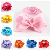 Wholesale Crochet For Hair Bows - high quality ribbon buotique hair bows with 1.5inch crochet headband for baby girls and kids chirldren headware