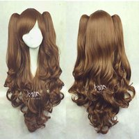 Wholesale Brown Clip Cosplay Wig - Free shipping New High Quality Fashion Picture wig >>LOLITA Brown Long Wavy 2 Clip Ponytail Cosplay Party Wig Hair