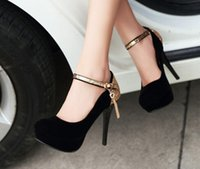 Wholesale Small Heel Shoes Suede - Small big size34-42 black round toe thin sexy bridal Suede medium high heel shoes women pumps lady red platform wedding heels shoes