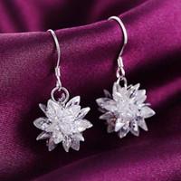 Wholesale Dangling Rhinestone Bridal Earrings - Dangling earrings Beautiful ice snowflake models 925 sterling silver earrings crystal bridal Wedding dangle brinco prata Christmas gift 0069