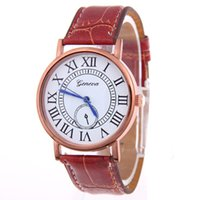 Wholesale watches ol - Fashion Business Women Mens Watch Leather PU Band OL Round Dial Luxury Watch Casual Analog Roman Numerals Dress Watch for Man Woman
