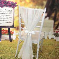 ленты для банкетных стульев оптовых-Оптовая дешевые хорошее качество шифон свадьба стул створки (лента галстук в комплекте) стул створки партии банкет 2017 свадебные чехлы на стулья