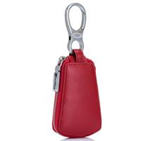 Wholesale car leather key holder case - Hot Selling ! Unisex High Quality Car Key Holder Wallet Genuine Leather Car Key Case Business Key Package Housekeeper Bag